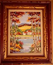 Vintage Paint by Number Valley Farm in Fall Oil Mid Century Signed Framed 21x25