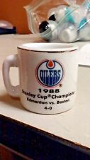 NHL STANLEY CUP CRAZY MINI MUG EDMONTON OILERS 1988 CHAMPS W/OPPONENT &SCORE