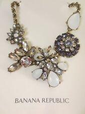 Banana Republic Moonlight Statement Grey Opal Flower Necklace NWOT 69.50