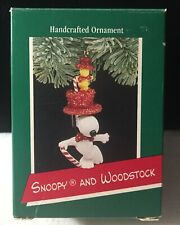 1989 Hallmark Keepsake Christmas Ornament Snoopy and Woodstock Dancing Top Hat