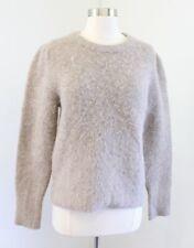 J Crew Fuzzy Puff Sleeve Crewneck Sweater Size S Alpaca Merino Wool Taupe Tan