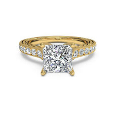 1.05 Ct Princess Diamond Engagement Stylish Rings 14K Yellow Gold Size N M S T