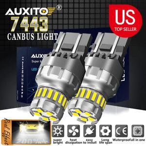 Pack2 7443 7440 LED White Turn signal Parking DRL High Power Light Bulbs 6500K