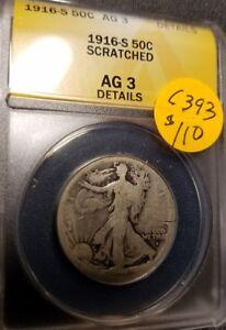 1916 S Certified Walking Liberty Half Dollar, AG3, C393