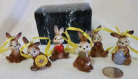 Vintage RARE Set of 6 ADORABLE, Goebel Porcelain Easter Bunny Ornaments & Decor!