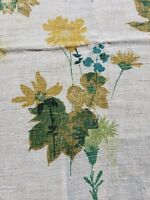 Vtg 30s Linen Tablecloth Yellow Floral Rustic 46 X 68 Spring Rectangle Scallop