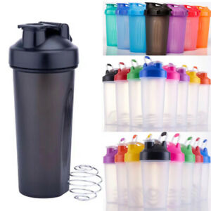 Water Bottle 20 oz / 600 ml Protein Shaker Mixer Loop Top Stainless Ball