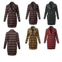 FashionOutfit Women's Casual Long Sleeve Plaid Pattern Long Coat Jacket