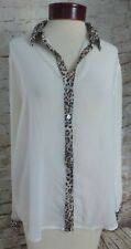 Charming Charlie White Sheer Shirt Leopard Trim Button Up Women's Size Large