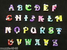 Slide On Charms Dog Cat Pet ID Collar Name Alphabet A-Z Letters Resin Bow 8mm