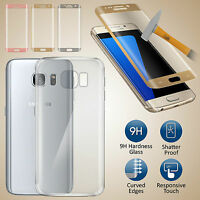 3D Curved Tempered Glass Screen Protector & Back Case Gel For Galaxy S6 Edge