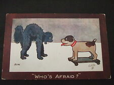 """Postcard. Raphael Tuck & Sons. """"Who's Afraid?"""" Posted to Clapham Junction 1917."""