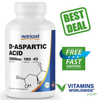 NUTRICOST D-ASPARTIC ACID 3000mg Serving Non-GMO Gluten Free 180 Capsules