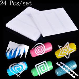 24 Sheet French Manicure Nail Art Tip Form Guide Sticker Polish Diy Stencil XNRU