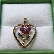 FLOWER HEART PEDNANT * RUBY * EMERALD * DIAMOND * 14K YELLOW GOLD