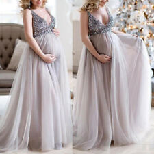 Womens Sequined Chiffon V Neck Maternity Maxi Evening Dress Prom Bridesmaid Ball