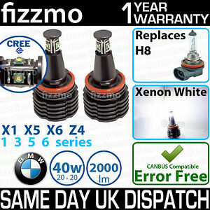 FIZZMO BMW H8 40w using CREE LED ANGEL EYE HALO RING BULB XENON WHITE ERROR FREE