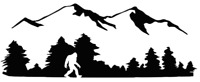 Die Cut Vinyl Decal Sasquatch Bigfoot Mountain Scene 20 Colors Car Truck #1054