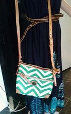 Dooney and Bourke Green/White w/Gold Hardware Zig Zag Crossbody ALL Leather NWOT