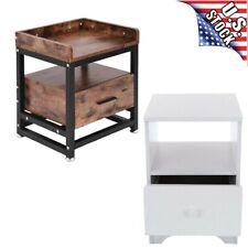 Wooden End Side Bedside Table Nightstand Bedroom Decor w/Drawer Bottom Shelf US