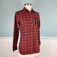 Size XXS Madewell Women's Red Black White Plaid Button Down Shirt Top Blouse 2XS