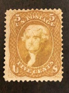 Rare! US Stamp Scott #67a 3c Brown Yellow Jefferson Light Cancel SCV - $1,100