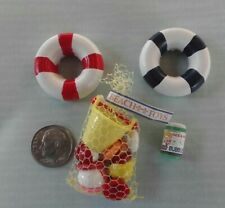Dollhouse Miniature Beach Toys - Bubbles & 2 life rings 1:12 scale