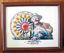 Emmett Kelly Rare Authentic Hand Signed Colored Print Hobo Clown Weary Willie.