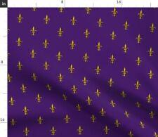 Fleur De Lis On Purple Ornate Vintage Royal Fabric Printed by Spoonflower Bty