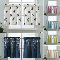 Embroidery  Short Curtain Kitchen Cafe Curtains Bedroom Bathroom Window Decor
