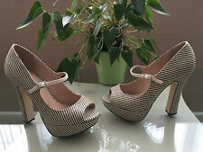 Ladies Faith beige and black basket weave platform peep toe shoes UK 5 EU 38