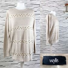 WALLIS Beige and Gold Studded Jumper Top Size S Casual Angora Blend