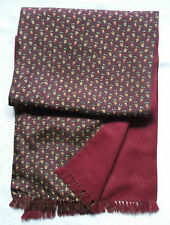 MENS VINTAGE SCARF THINLY LINED RETRO MOD 1970'S 1980'S POLYESTER WOOL BURGUNDY