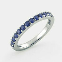 1/2Ct Blue Sapphire Half Eternity Wedding Band Ring 14K White Gold Fn 925 Silver
