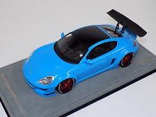 1/18 AB Models Porsche Cayman Rocket Bunny Gloss Baby Blue red wheels Alcantara