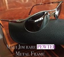 MAUI JIM 150-02 Makai Glass Lens Polarized PEWTER Metal Rim Tortoise Temple
