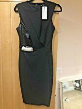 Lipsy Ladies Black Dress UK 8 Michelle Keagan Smart Fitted Leather Look Details