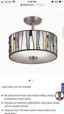 Portfolio brushed nickel Tiffany style light fixture