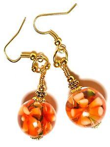 Long Orange Earrings Glass Flower Bead Drop Dangle Statement Gypsy Chic Classy