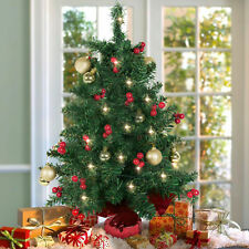 """22"""" Tabletop Pre-lit Christmas Tree Battery Operated Berries and Gold Ornaments"""