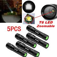 5pcs SkyWolfEye Zoomable 50000LM T6 LED 18650 Flashlight Hiking Lamp Torch Light