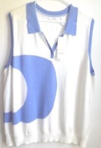 """Lizgolf 3X sleeveless white w/blue collared sweater polo  NWT """"Slice it Right"""""""