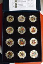 *Malawi Lunar Coin Set* 12 x 5 Kwacha 2005 st-PP Farb/Silber/Gold Apllic.Selten!