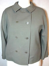 Jaeger Fully-Lined DoubleBreasted Solid Olive Green Wool LS Jacket Blaz 14