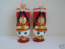 VINTAGE TOY SOLDIERS HEADS CHRISTMAS ORNAMENTS W/ RED HATS FROM JAPAN