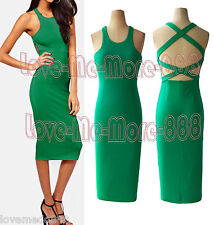 Sexy Celebrity Casual Club Party Strap Cross Open Back Slim Fit Bodycon Dress XL