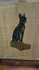 Egyptian Cat Painted on Papyrus Paper, Under Glass, On Easel