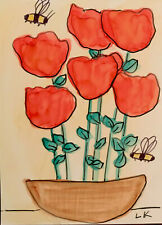 """ACEO original red flowers in a pot bumblebees painting by Lynne Kohler 2.5x3.5"""""""