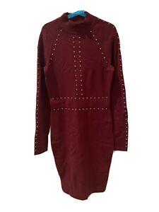 Karen Millen Knit Dress XS Maroon / Wine