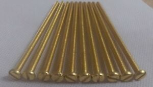 EXTRA LONG, M4 X 80MM, PAN HEAD,  BRASS SLOTTED,  MACHINE SCREWS  - Pack of 10 .